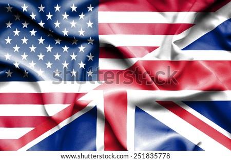 Waving flag of United Kingdon and USA - stock photo