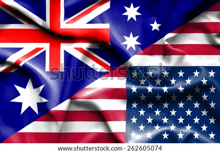 Waving flag of United States of America and Australia - stock photo