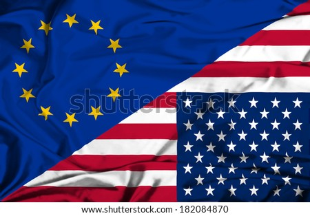 Waving flag of United States of America and EU - stock photo