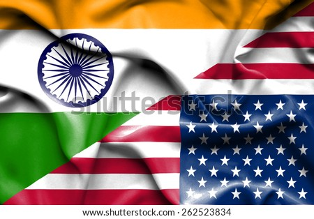 Waving flag of United States of America and India  - stock photo