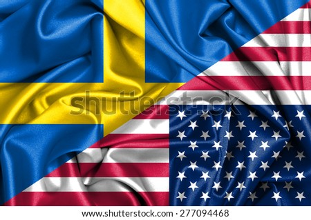 Waving flag of United States of America and Sweden - stock photo
