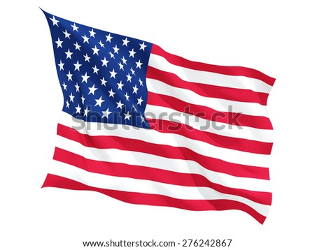 Waving flag of united states of america isolated on white
