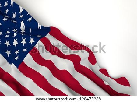 Waving flag of united states of america, north America, corner of white background - stock photo