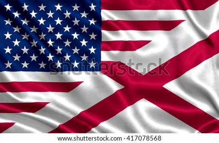 Waving flag of USA and Alabama state (USA) - stock photo