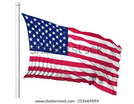 Waving flag of USA on flagpole, isolated on white background. - stock photo