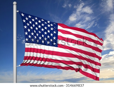 Waving flag of USA on flagpole, on blue sky background.
