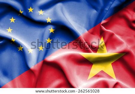 Waving flag of Vietnam and European Union - stock photo