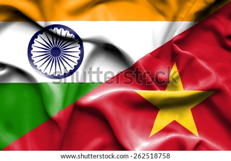 Waving flag of Vietnam and India