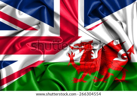 Waving flag of Wales and UK