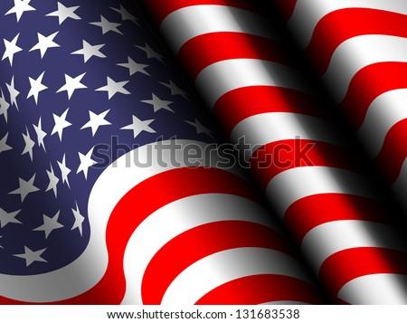 waving flag USA - stock photo