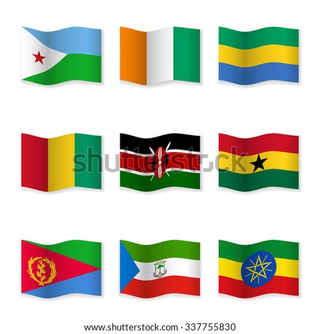 Waving flags of different countries. Flag icons on white background. 3D waving position with shadow. Each flag is isolated on its own layer with the proper name. Set 15. Raster version.