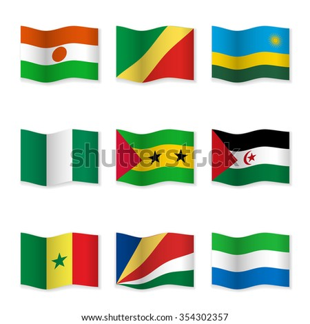 Waving flags of different countries. Flag icons on white background. 3D waving position with shadow. Each flag is isolated on its own layer with the proper name. Raster version.  Set 17.