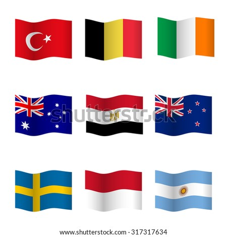 Waving flags of different countries. Flag icons on white background. Raster version. - stock photo