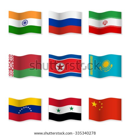 Waving flags of Russian ally countries. Flag icons on white background. 3D waving position with shadow. Each flag is isolated on its own layer with the proper name. Raster version. - stock photo