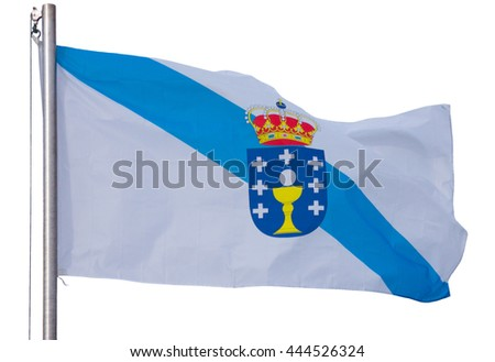 waving galician flag isolated on the white background - stock photo