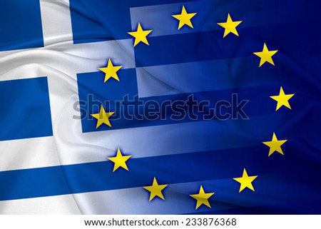 Waving Greece and European Union Flag - stock photo