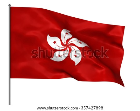 Waving Hong Kong flag isolated over white background - stock photo