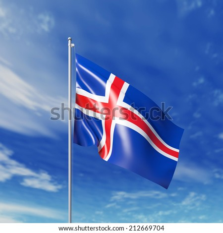 Waving  Icelandic flag against cloudy sky. High resolution  render.