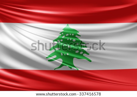 Waving Lebanon flag of silk