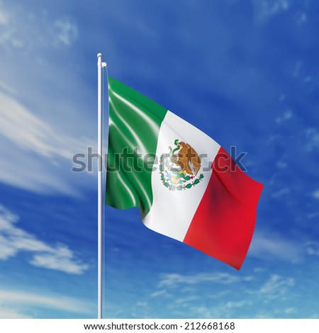 Waving  Mexican flag against cloudy sky. High resolution  render. - stock photo