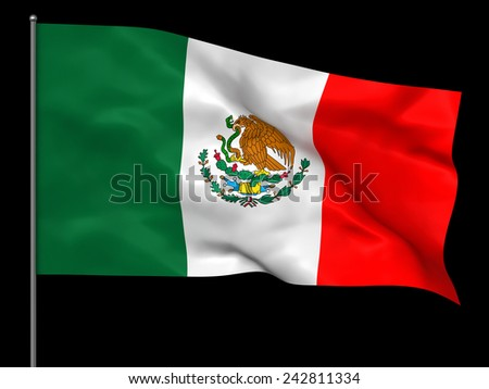 Waving Mexican flag isolated over black background - stock photo