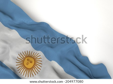 Waving of argentina flag, in corner of white background - stock photo