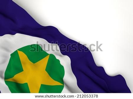 Waving of mato grosso flag, in corner of white background  - stock photo