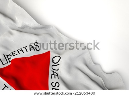 Waving of minas gerais flag, in corner of white background  - stock photo