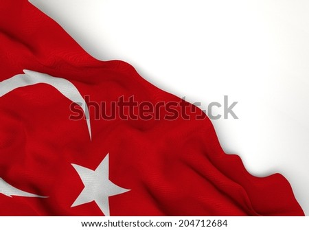 Waving of turkey flag, in corner of gray background