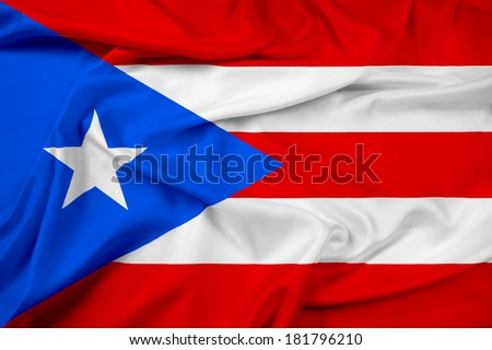 Waving Puerto Rico Flag - stock photo