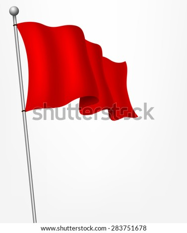 Waving red flag illustration