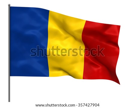 Waving Romanian flag isolated over white background - stock photo