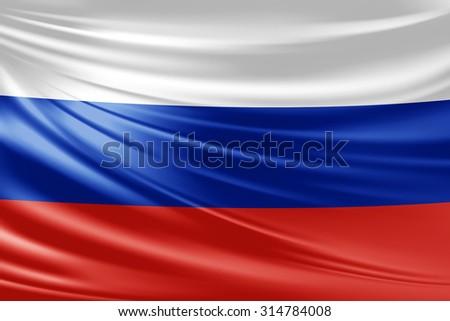 Waving Russia flag of silk  - stock photo