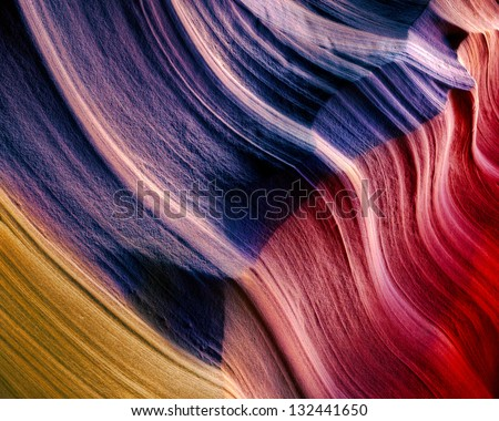 Waving Sandstone Flag, Upper Antelope Canyon, Arizona - stock photo