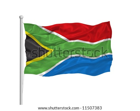 waving South African flag on white