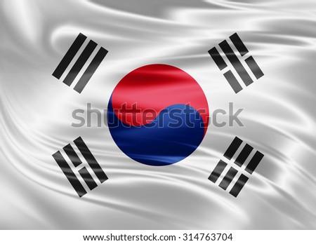 Waving south korea flag of silk  - stock photo