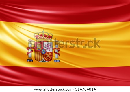 Waving Spain  flag of silk  - stock photo