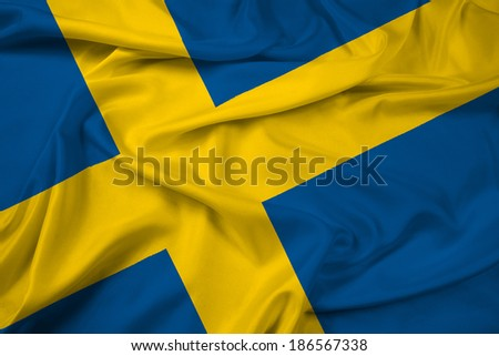 Waving Sweden Flag - stock photo