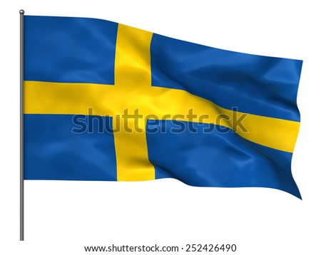 Waving Swedish flag isolated over white background - stock photo