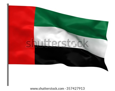 Waving united arab emirates flag isolated over white background