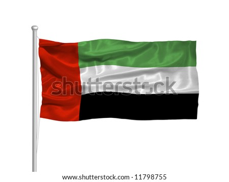waving United Arab Emirates Flag on white