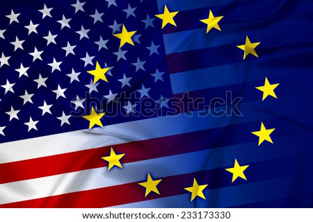 Waving United States and European Union Flag - stock photo