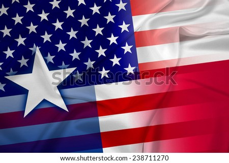 Waving USA and Texas State Flag