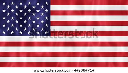 Waving USA flag background - stock photo