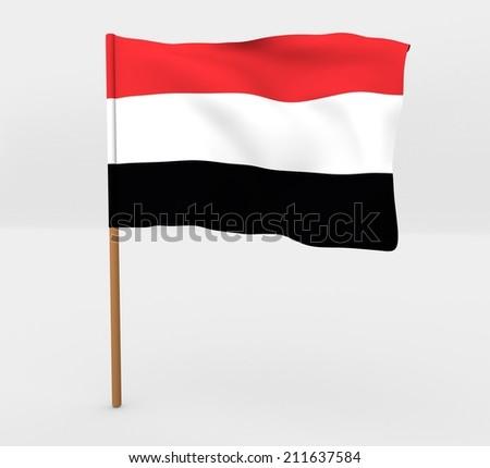 waving yemen flag on the flag pole  - stock photo