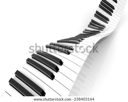 Wavy abstract piano keyboard isolated on white - stock photo