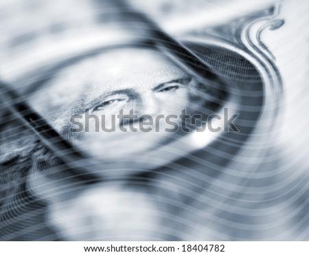 Wavy abstract stripes overlaid over Washington face on US Dollar - stock photo