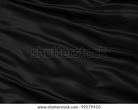 Wavy black textile background with rippled effect - stock photo