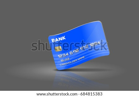 Wavy blue credit card over grey background