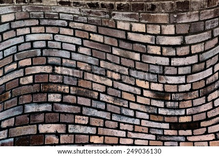 wavy, brick background - solid concrete wall - stock photo